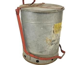 Vintage Industrial Justrite Galvanized Metal Step Waste Can