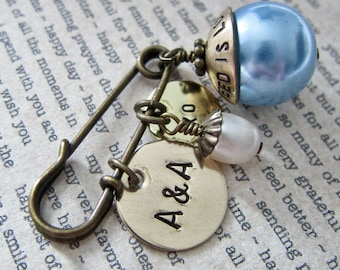 Old, New, Borrowed, Blue - Personalized Bridal Bouquet Pin - Rustic Hand Stamped Fall Wedding Keepsake with Date, Initials, Freshwater Pearl