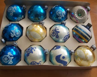 One Dozen Assorted Stenciled Christmas Ornaments