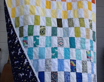 Rainbow Unicorn Quilt for Baby or Toddler, Lap Quilt, Scrappy Cotton Patchwork, Unique, Colorful, Ready to Ship