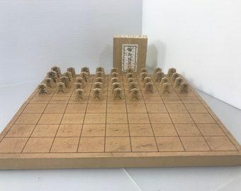 Japanese Chess game Shogi Game Set WOOD  made in Japan signed vintage (#382)