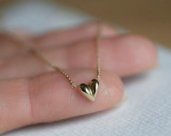 Puffy Heart Necklace, Baby Heart Necklace, Tiny Heart Necklace, 14k Gold