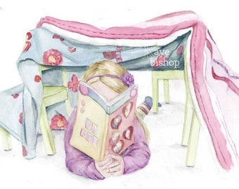 Reading Tent, Fort Art, Girls Room Decor, Girls Room Art, Watercolor Girl, Book Lover Art, Book Art, Book Lover Gift, Reading Fort, Girl Art