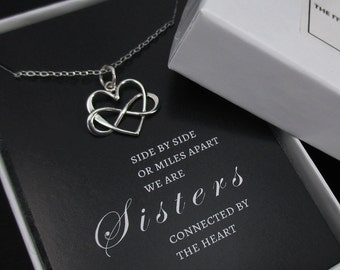 Unbiological Sister Necklace, Sister Necklace, Unbiological Sister Gift, Infinity Heart Necklace, Friendship Necklace, Sterling Silver