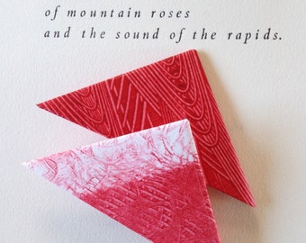 Origami Page Corner Bookmarks-Red & White