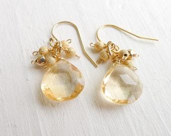 Citrine Cluster Earrings Briolette Fringe Earring November Birthstone Jewelry Gift