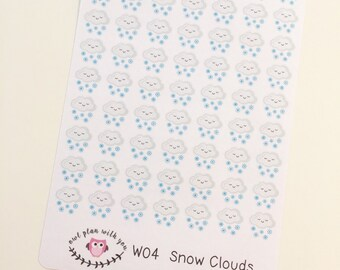 W04 || 63 Snow Weather Tracking Stickers