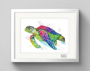 A4 Turtle Watercolour Print