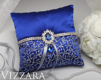 Ring bearers pillows Royal blue wedding Handmade ring bearer pillow Royal blue wedding ideas Ring boy pillows Royal blue and grey wedding