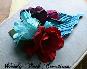 Tribal Paradise Hair Clip Fascinator - Belly Dance, Wedding, Bridal, Prom, Vegan, Tribal Fusion, Hair Garden, Blue, Gardenia, Red, Purple