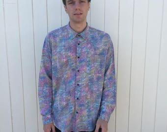 Men's Vintage Shirt. Long sleeved bright patterned shirt from 80s era. Southwest Castle.