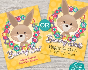 Easter Bunny Bait tags | Personalize Easter Tags | Printable Easter treat tags