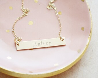 Mother Bar Necklace, Personalized Gift for Mom, Choose Your Metal, Gold, Rose Gold & Silver Hand Stamped Bar Mother Necklace, Name Necklace