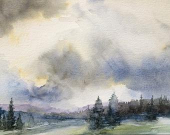 cloud painting, landscape painting,rainy day,pine trees, Landscape watercolor, storm clouds, storm cloud art, misty trees, Pacific Northwest