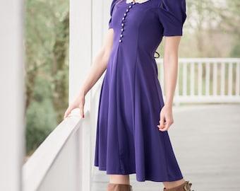 Vintage Violet Purple Laced Back Dress (Size Small)