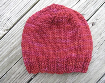 Sweetheart Hand-Knitted Merino Wool Baby / Toddler Hat -- choose your size -- made to order