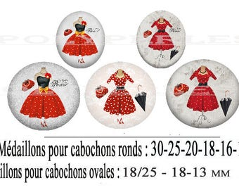 Digital scrapbooking fashion red paris dress polka dot glass cabochon image