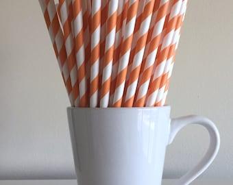 Orange Striped Paper Straws Party Supplies Party Decor Bar Cart Cake Pop Sticks Mason Jar Straws  Party Graduation