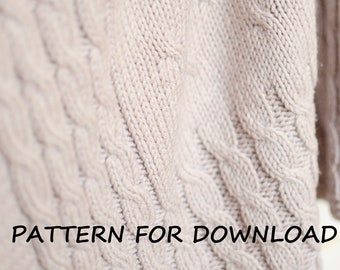Cable Knit Baby Blanket PDF Pattern In English, Knitted Baby Blanket Pattern, Knitting Pattern for Babies, Baby Blanket Knitting Pattern
