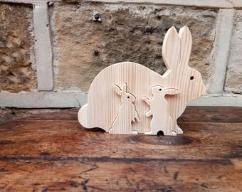 Wooden Rabbit Family Ornament