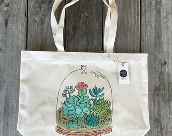 Terrarium Bag, Canvas Tote, Market Bag