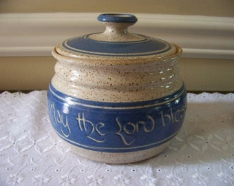 Scripture jar handmade pottery 6 1/4 with lid