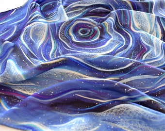 Cosmic Ocean - Silk Tarot Cloth - Altar Cloth, Tarot Cloth, Oracle Cloth, Universe and Stars, Blue Purple Tarot Cloth, Tarot Cards