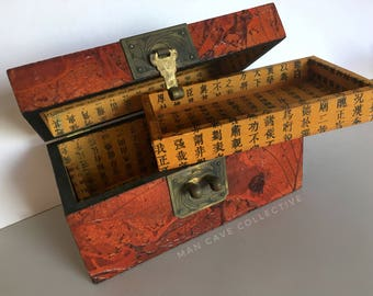 Political Japanese Hand Calligraphy Oak Leaf Decoupage Lock Box Antique One of a Kind Unique Storage Keepsake