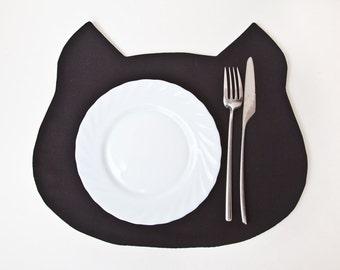 Placemat, Black Cat Placemat, Black Table Mats, Black Kitchen Decor, Cat Lover Gift, Fabric placemat, Linen Kitchen Decor