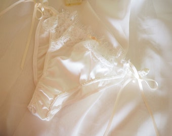 Ivory Stretch Silk Satin Panties with Ivory Lace Size Small
