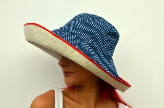 Breiter Krempe Sonnenhut sommerhut Wendemütze, faltbare Hut, Reise-Hut, Creme Hut, navy blau Polka, Baumwolle Mütze, Boho Hut, Schlapphut