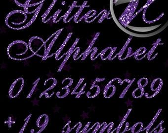 Purple Glitter Alphabet, Digital Glitter Alpha, Purple Digital Alphabet Letters, Purple Glitter Letters, Large Glitter Letters,  Design #128