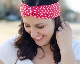 Turban Twist Headband - Gift for Her - Red Polka Dot Headband - Comfortable Headband for Women - Twisted Headband for Women - Red Headband
