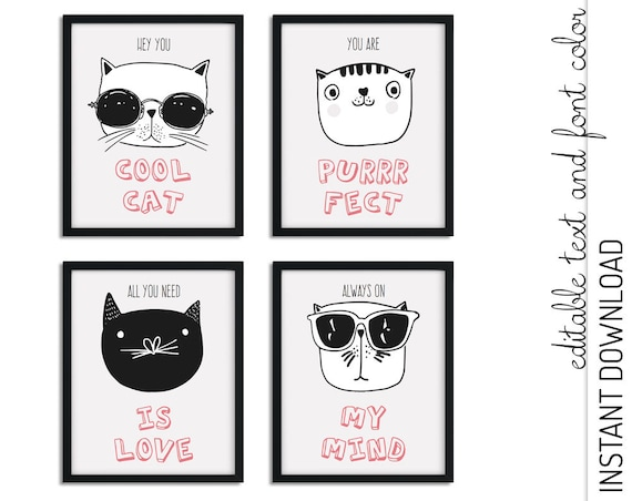 Cool Cats Printable Wall Art  INSTANT DOWNLOAD you personalize at home