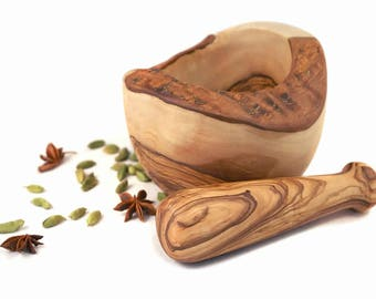 Rustic mortar and pestle made with olive wood