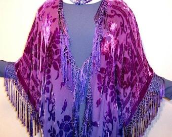 Hand Dyed Kimono Fringe Jacket Duster Burnout Silk Velvet Magenta Purple