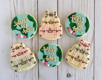 1 Dozen Stacked Suitcase and Globe Bridal Shower Cookies