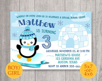 Penguin Birthday Invitation, Penguin Invitation, Penguin party, Little Penguin Invite, Winter Invitation, Winter birthday party, Snow invite