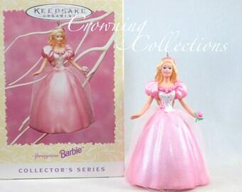 1996 Hallmark Springtime Barbie Keepsake Ornament Spring Easter Series Rose Flowers Pink Dress