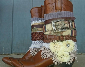 Upcycled reworked cowgirl boots