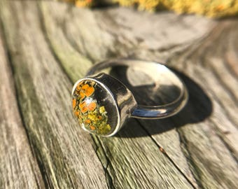 Lichen and resin sterling silver ring size 6