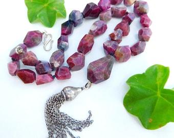 Pink gemstone tassel necklace   Tourmaline necklace   Raw crystal necklace   Knotted gemstone necklace   Pink tourmaline necklace