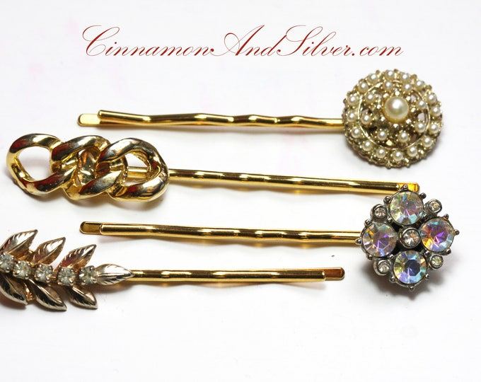 Vintage Wedding or Special Occassion Bobby Pins, Vintage Rhinestone and Pearl Hair Accessories, Upcycled Vintage Jewelry Hair Pins