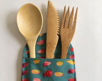 Organic Cotton Bamboo Cutlery Pouch, Cutlery Pouch, Sustainable, Zero Waste, Organic Cutlery Bag, Silverware Holder, Eco Friendly,