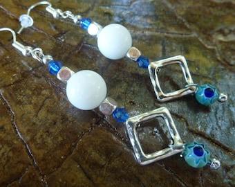 Drop earring, geometric, diamond, Jade, Millefiori, gift for her, women gift, white, blue, 925 sterling silver, mother's day, MOM