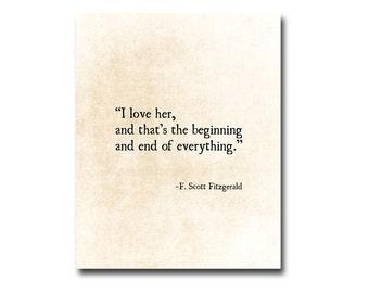 I Love Her Quote F. Scott Fitzgerald Quote, Literary Art Print, Romantic Wall Art, Love Quote, Anniversary Gift, Fine Art Print