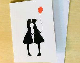 Lesbian Silhouette Couple (Dresses)  -  Lesbian birthday card - lesbian birthday gift - lesbian girlfriend gift - lesbian girlfriend card
