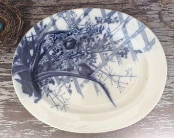 Antique Black Transferware Platter, Ironstone Pierre Mallet Platter, French Platter with Birds