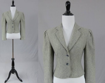 80s Gray Jacket - Wool Blend - Shoulder Pads - Made in Japan - Vintage 1980s Coat - S