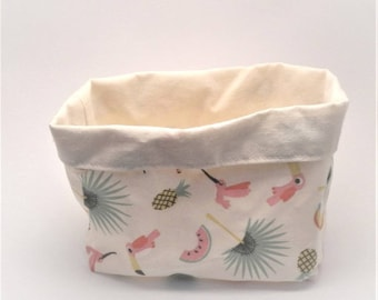 Storage basket, cotton printed Miami and ecru. 1 piece.